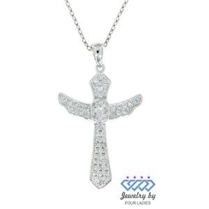 Solid Diamond Cross Religious Pendant White Gold